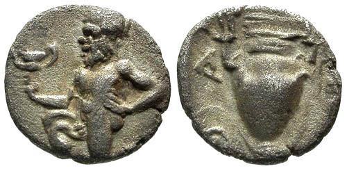 Ancient Coins - VF/VF Thasos Islands off Thrace AR Trihemiobol / Satyr and Anphora