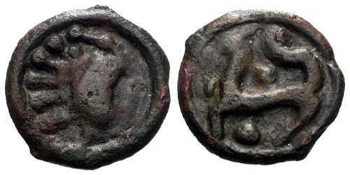 Ancient Coins - EF/EF Senones tribe potin / Rare Type