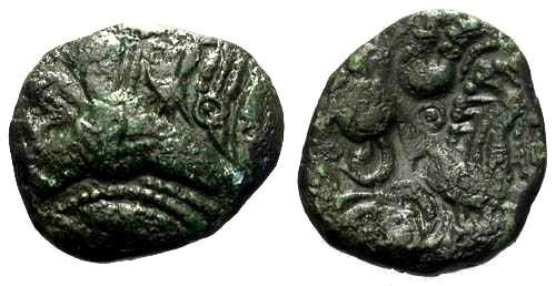 Ancient Coins - VF/VF Bellovaci Class I Bronze / Most Unusual