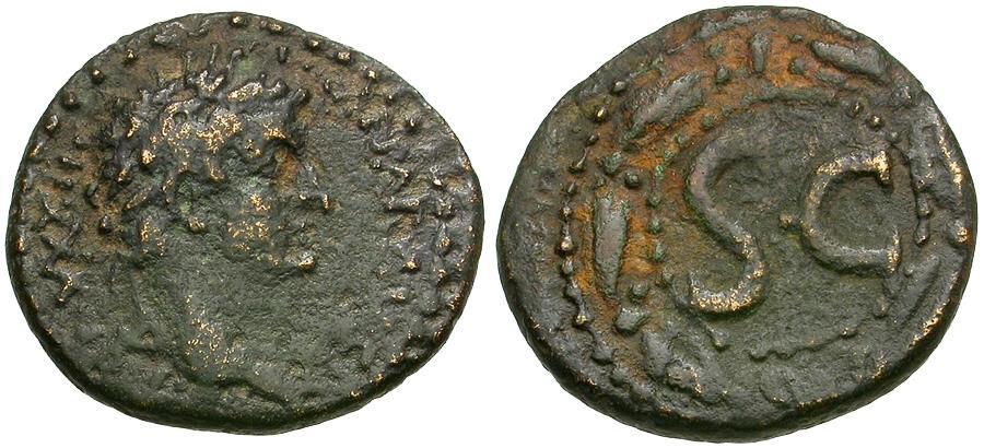 Ancient Coins - Tiberius (AD 14-37). Seleucis and Pieria. Antioch ad Orontem Æ Semis / Wreath