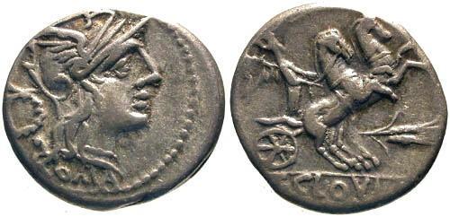 Ancient Coins - 128 BC / aVF/aVF Cloulia 1 Roman Republic Denarius / Roma