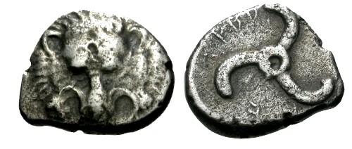 Ancient Coins - gF/+/gF+ Lycia Dynast of Trbbenimi AR Tetrobol / Lion's scalp and Triskeles