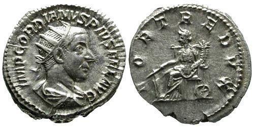 Ancient Coins - EF/EF Gordian III Antoninianus / Fortuna