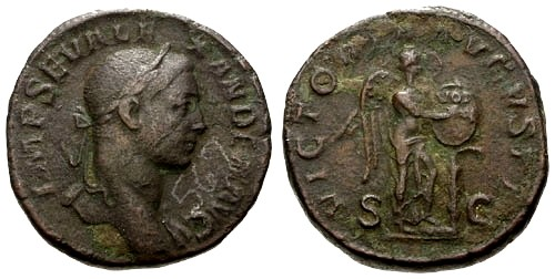 Ancient Coins - VF/VF Severus Alexander AE Sestertius / Victory