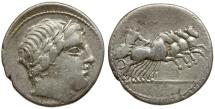 Ancient Coins - 86 BC - Roman Republic. Anonymous. C. Gargonius, M. Vergilius, Ogulnius AR Denarius / Jupiter in Quadriga