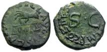 Ancient Coins - VF/VF Claudius Æ Quadrans / Hand holding scales