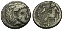 Ancient Coins - Eastern Europe. Alexander III the Great Imitative AR Drachm / Zeus Enthroned