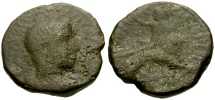 Ancient Coins - Volusian, Judaea, Samaria, Caesarea Maritima Æ23 / Dionysos Reclining on Lion