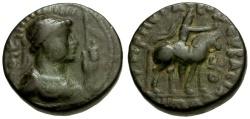 Ancient Coins - Kushan Kings of India.  Soter Megas Æ Tetradrachm / King on Horseback