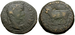 Ancient Coins - Tiberius.  Spain. Culnia Æ AS / Bull