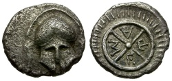 Ancient Coins - Thrace. Mesembria AR Diobol / Helmet