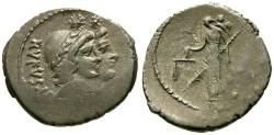 Ancient Coins - aEF/gF 46 BC - Roman Republic Mn. Cordius Rufus AR Denarius / Dioscuri / Venus