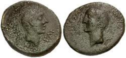 Ancient Coins - Phoenicia Dynasts of Chalcis. Zenodoros Æ17 / Octavian and Zenodoros