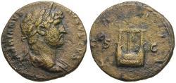 Ancient Coins - Hadrian (AD 117-138) Æ Semis / Lyre