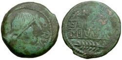 Ancient Coins - Spain. Obulco. L. Aemilius and M. Junius aediles Æ AS / Plough