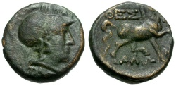 Ancient Coins - Thessaly.  Thessalian League Æ17 / Athena and Horse