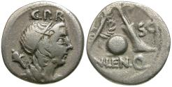 Ancient Coins - 76-75 BC - Roman Republic. Cn. Lentulus Q. AR Denarius / Genius / Scepter, Globe and Rudder