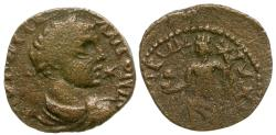 Ancient Coins - Elagabalus. Arabia. Medaba Æ19 / Tyche