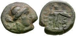 Ancient Coins - Thessaly. Thessalian League Æ14 / Athena