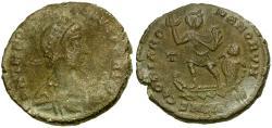 Ancient Coins - Theodosius I Æ imitative Maiorina / Four fingered Theodosius in Galley