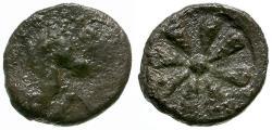 Ancient Coins - Aeolis. Kyme AR Hemiobol / Flower