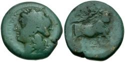 Ancient Coins - Campania. Neapolis Æ20 / Man-Headed Bull