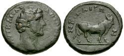 Ancient Coins - Antoninus Pius (AD 138-161). Bithynia. Nicaea Æ18 / Apis Bill