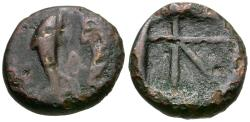 Ancient Coins - Islands off Attica. Aegina Æ12 / Two Dolphins