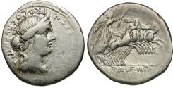 Ancient Coins - 82-81 BC - Roman Republic. C. Annius T.f. T.n., with L. Fabius L.f. Hispaniensis AR Denarius / Victory in Quadriga