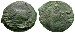 Ancient Coins - Gaul.  Narbonnaise. Volcae Aracomici Æ15 / Togate Figure