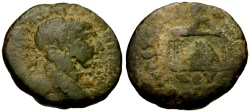 Ancient Coins - Trajan, Syria, Seleucia-Pieria Æ24 / Sacred Stone in Temple