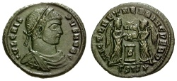 Ancient Coins - aEF/aEF Crispus Caesar Æ3 / Two Victories at Altar