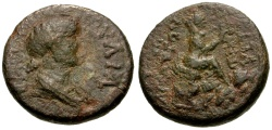 Ancient Coins - Julia Augusta (Livia), Cilicia Augusta Æ18 / Tyche and river god