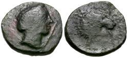 Ancient Coins - Thessaly. Pherai Æ15 / Lion Fountain