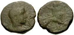 Ancient Coins - Volusian, Judaea, Samaria, Caesarea Maritima Æ23 / Dionysos Reclining on Lion