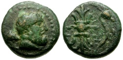 Ancient Coins - Pisidia, Selge Æ13 / Herakles / Thunderbolt and Bow
