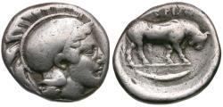 Ancient Coins - Lucania. Thourioi AR Stater / Bull