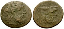 Ancient Coins - Akarnania, Oiniadai Æ22 / Zeus / Acheloos