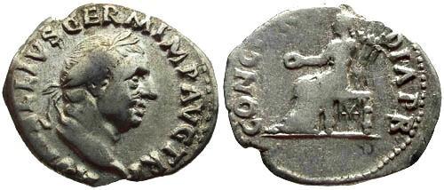 Ancient Coins - aVF/aVF Vitellius Denarius Concordia
