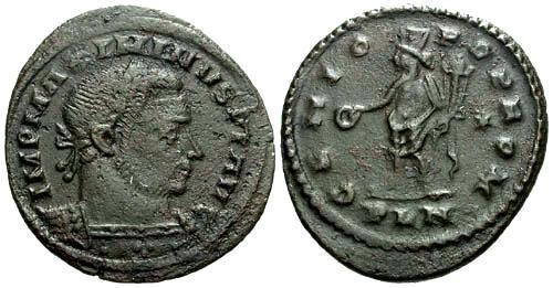 Ancient Coins - aVF/aVF Maximinus II AE Follis / Genius