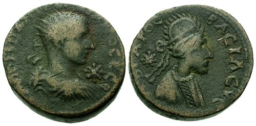Ancient Coins - aVF/VF Gordian III Mesopotamia Edessa AE25 / King Abgar