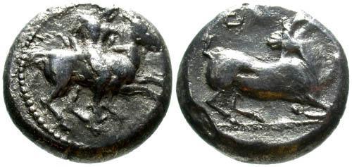 Ancient Coins - aVF/aVF Cilicia Kelenderis AR Stater / Goat & Horseman