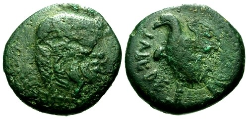 Ancient Coins - gF/aVF Umbria Tuder AE17 / Silenos / Eagle