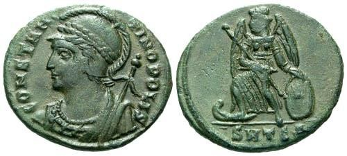 Ancient Coins - VF/VF Constantinopolis Commemorative / Victory on Prow