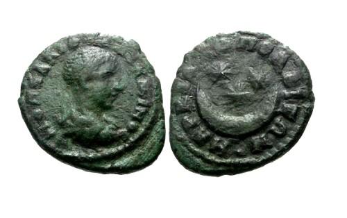 Ancient Coins - aVF/aVF Diadumenian Moesia Inferior Marcianopolis AE18 / Crescent and stars