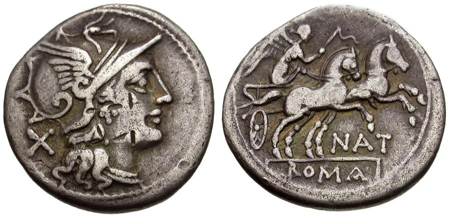 Ancient Coins - 155 BC - Roman Republic. Pinarius Natta AR Denarius / Victory in Biga