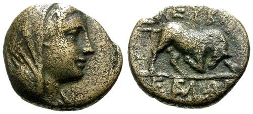 Ancient Coins - VF/aVF Euboia Euboian League AE17 / Bull