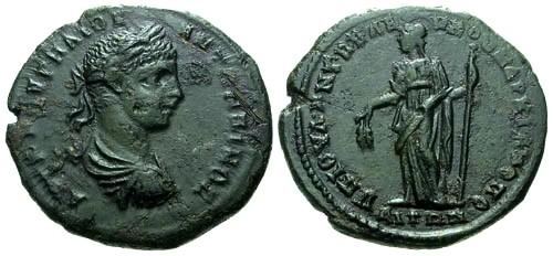 Ancient Coins - aEF/VF Elagabalus Moesia Inferior Marcianopolis AE26 / Demeter