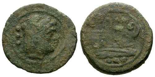 Ancient Coins - aVF/F Roman Republic Post Reform Quadrans 8 grams