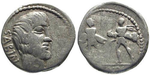 Ancient Coins - 89 BC / F/F Tituria 1 Roman Republic Denarius / Rape of the Sabines